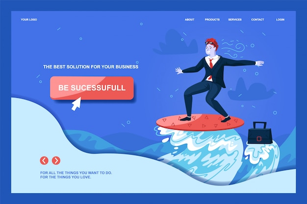Plantilla web de la página de aterrizaje con el empresario character surfing on ocean wave to goal. tener éxito