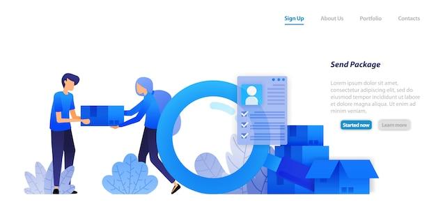 Plantilla web de página de aterrizaje. entregar paquetes a los clientes. distribuyendo productos de comercio electrónico con protección completa de datos de clientes.