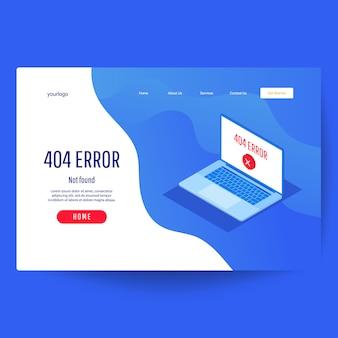 Plantilla web de página de aterrizaje. error 404 página no encontrada concepto
