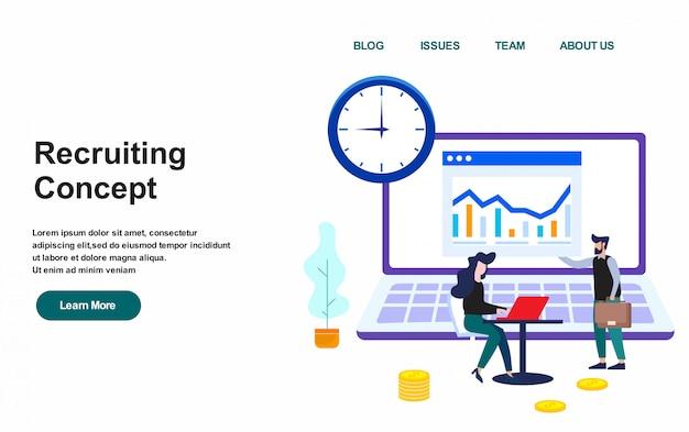 Plantilla web de página de aterrizaje. ilustración de vector de concepto de reclutamiento, diseño plano