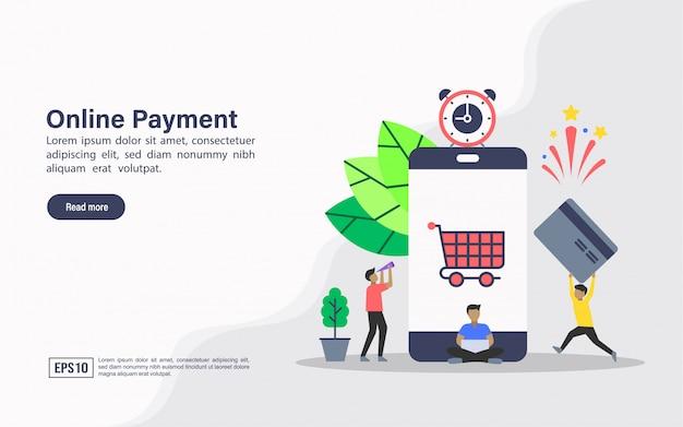 Plantilla web de página de aterrizaje de pago online.