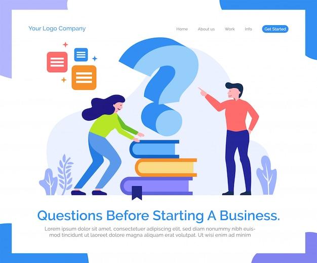 Plantilla web de página de aterrizaje. preguntas antes de iniciar un negocio.