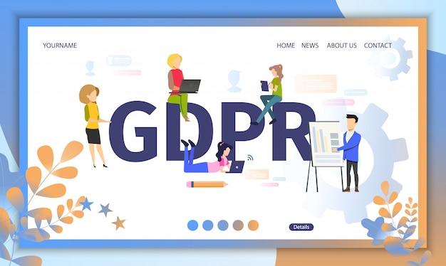 Plantilla web de la página de aterrizaje del reglamento oficial de gdpr