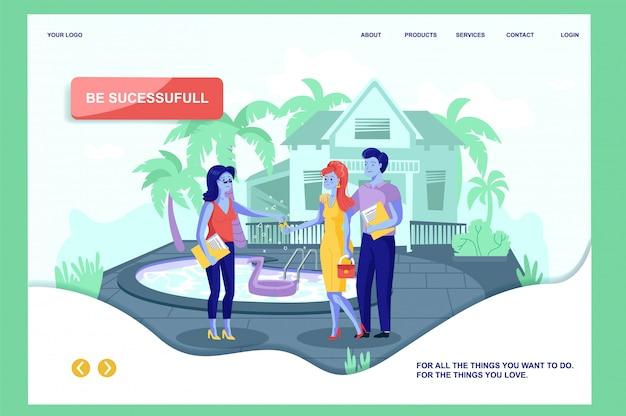 Plantilla web de la página de aterrizaje con rich couple buying seashore real estate en tropical island. piso marido y mujer alquilar casa junto al mar.