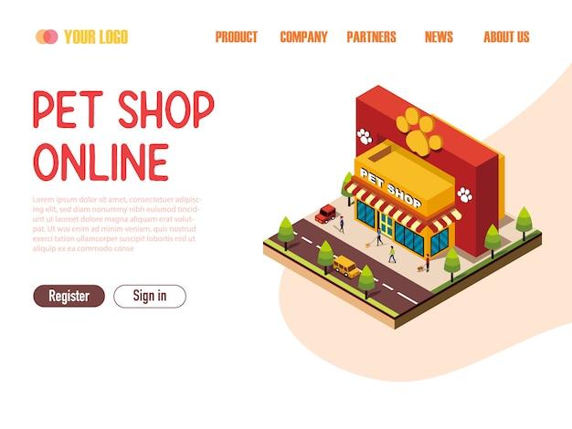 Plantilla web de la página de aterrizaje tienda de mascotas en línea isométrica