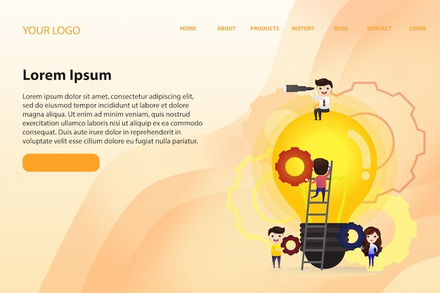 Plantilla web de página de aterrizaje con trabajo en equipo para encontrar nuevas ideas, pequeñas personas lanzan un mecanismo