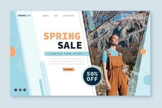 Plantilla web de página de aterrizaje de venta de modelo de primavera