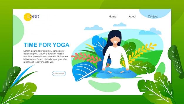 Plantilla web de página de aterrizaje para yoga, actividad al aire libre en vacaciones de verano, vacaciones
