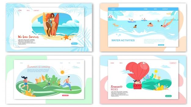 Plantilla web de la página de destino para las actividades de horario de verano.