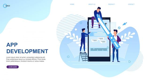 Plantilla web de la página de destino para la agencia de desarrollo de aplicaciones.