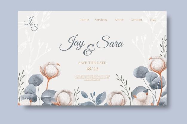 Plantilla web de página de destino de aniversario de boda