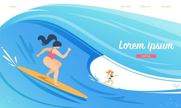 Plantilla web de la página de destino para la competencia de surf, personajes femeninos en trajes de baño y tablas de surf para montar