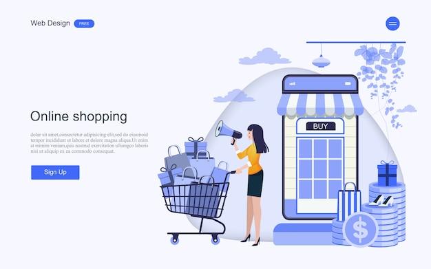 Plantilla web de página de destino para compras y servicios en línea.