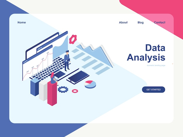 Plantilla web de página de destino. concepto de análisis de datos, isométrico plano moderno