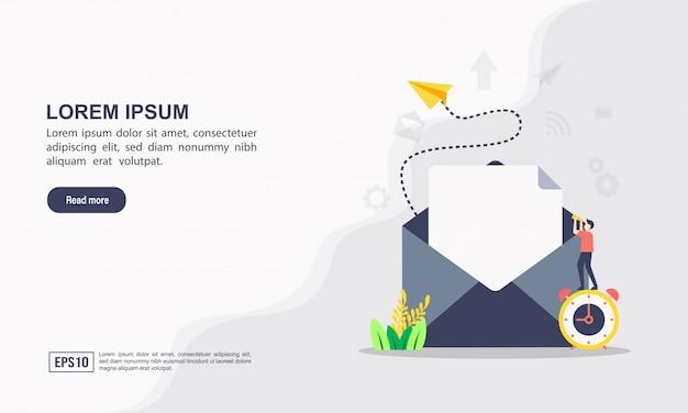 Plantilla web de la página de destino del concepto de email marketing y mensaje
