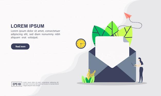 Plantilla web de la página de destino del concepto de marketing y comunicación por correo electrónico