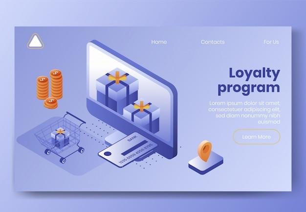 Plantilla web de página de destino. conjunto de concepto de diseño isométrico digital