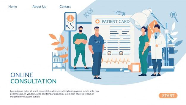 Plantilla web de página de destino para consulta en línea, rotulación de tarjeta de paciente.