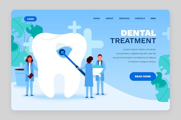 Plantilla web de página de destino de cuidado dental plano