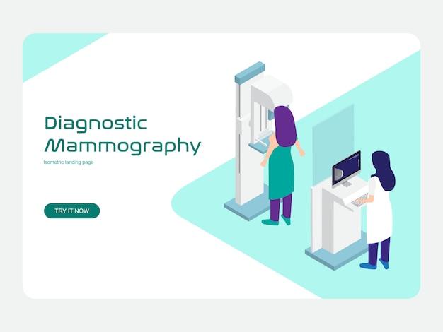 Plantilla web de página de destino. diagnóstico y tamizaje mamografía plana isométrica