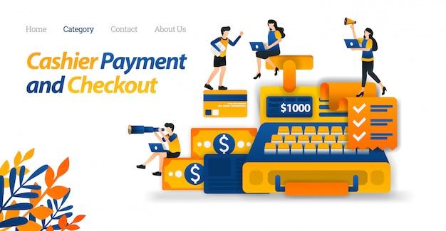 Plantilla web de la página de destino para el diseño de la caja registradora para fines comerciales, financieros y de comercio electrónico. diseño de dinero y tarjeta de crédito.