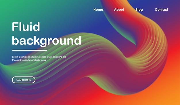 Plantilla web de página de destino con diseño de onda líquida 3d