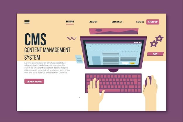 Plantilla web de página de destino de diseño plano cms