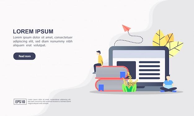 Plantilla web de página de destino de e-learning y concepto de educación en línea