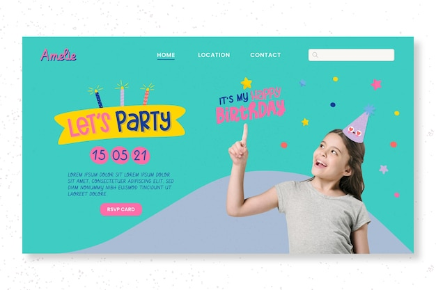 Plantilla web de página de destino de fiesta de cumpleaños infantil