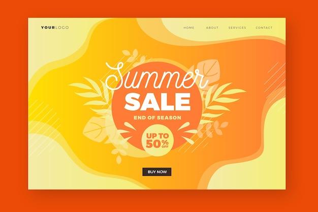 Plantilla web de página de destino de fin de temporada de venta de verano