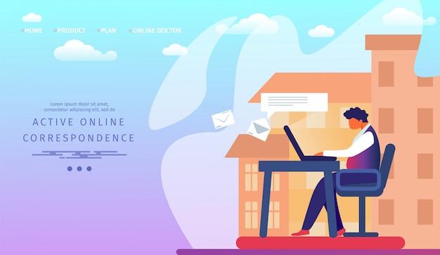 Plantilla web de la página de destino con un hombre de negocios que trabaja en una computadora portátil enviando mensajes y cartas a amigos y socios por correo electrónico e internet