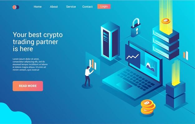 Plantilla web, página de destino o comercio analítico de criptomonedas