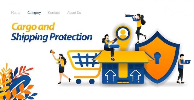 Plantilla web de la página de destino para los servicios de envío proteja todos los tipos de paquetes y carga con la máxima seguridad hasta el etiquetado de los clientes.