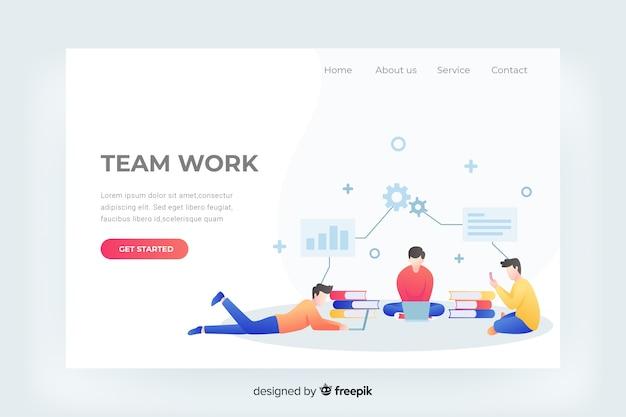 Plantilla web de página de destino de trabajo en equipo
