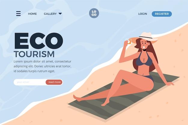 Plantilla web de página de destino de turismo ecológico