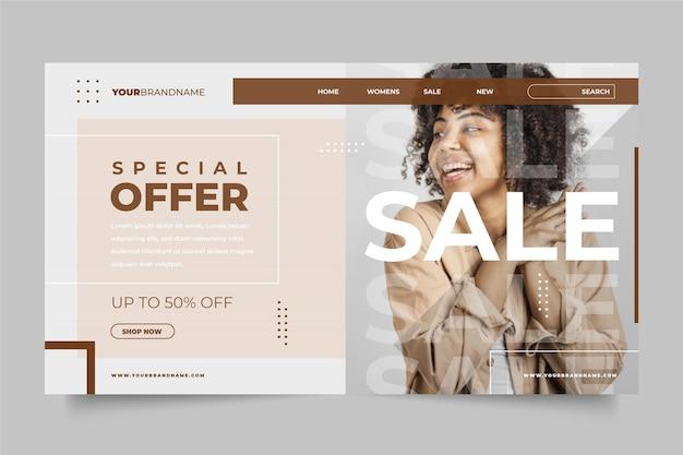 Plantilla web de página de destino de venta de moda
