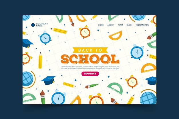 Plantilla web de la página de inicio de regreso a la escuela