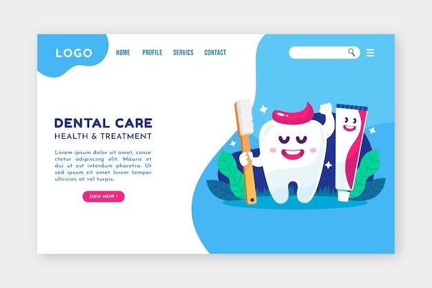 Plantilla web plana de cuidado dental