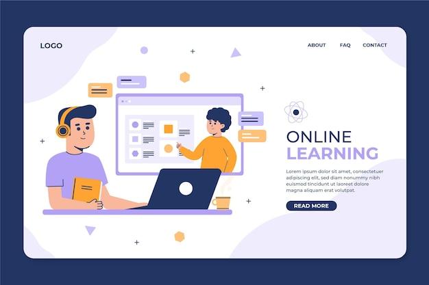 Plantilla web plana lineal de aprendizaje en línea