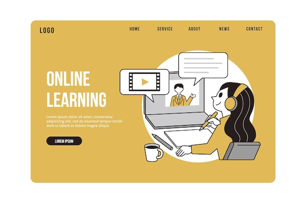 Plantilla web plana lineal de educación en línea