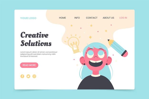 Plantilla web plana de soluciones creativas