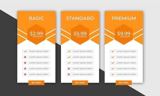 Plantilla web de planes de tabla de precios de negocios con estilo