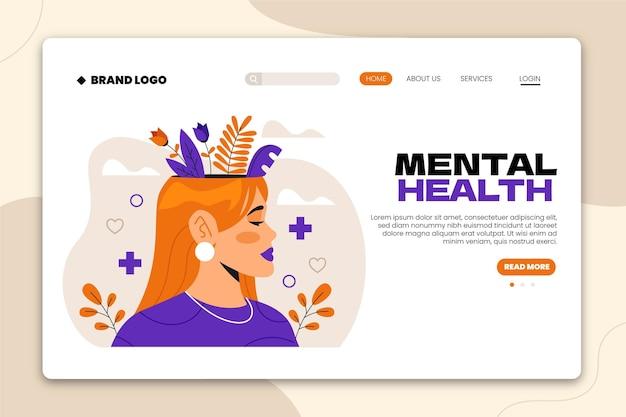 Plantilla web de salud mental de diseño plano