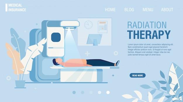 Plantilla web del servicio de radioterapia que ofrece la página de destino