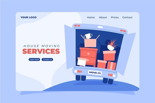Plantilla web de servicios de mudanza de casa