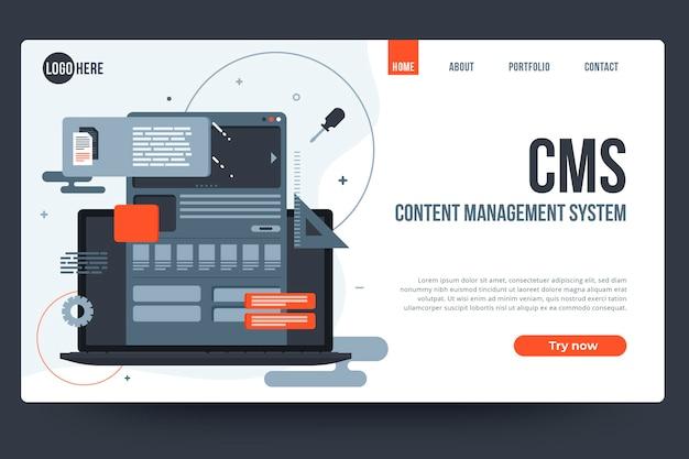 Plantilla web de sistema de gestión de contenido de diseño plano
