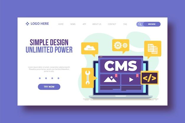 Plantilla web de sistema de gestión de contenido plano