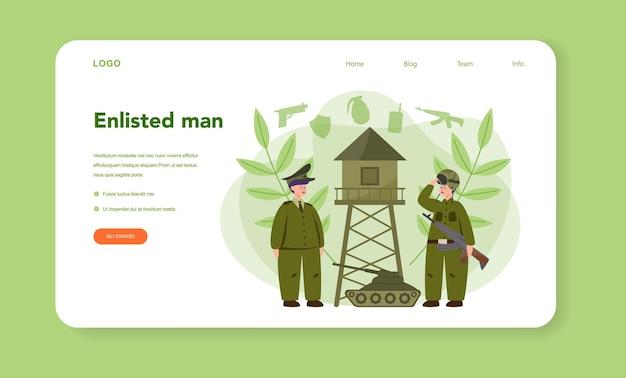 Plantilla web de soldado o página de destino. empleado de la fuerza militar en camuflaje con un arma. equipo y tecnología militar. estrategia y táctica de guerra.