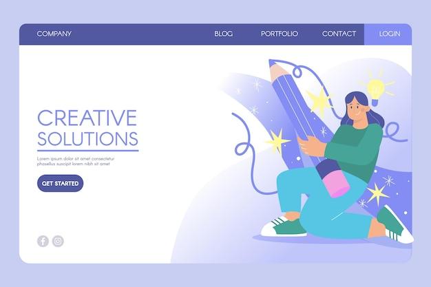 Plantilla web de soluciones creativas de diseño plano