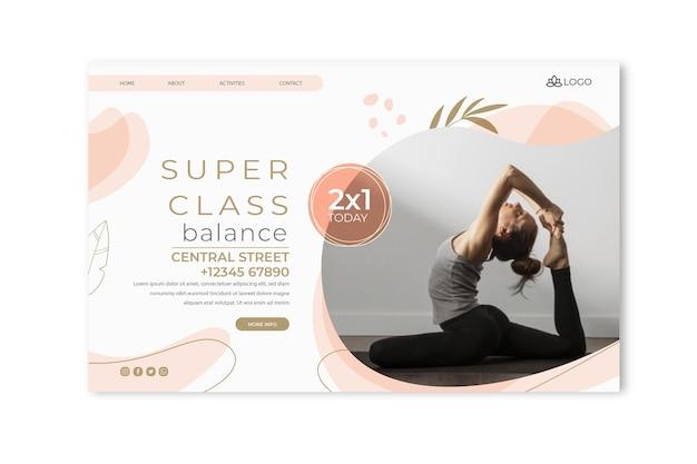 Plantilla web de yoga con foto